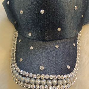 Denim Blin hat with faux pearls design